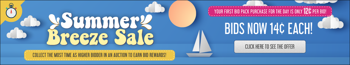Summer Breeze Sale: Buy bids for only 14 cents each!