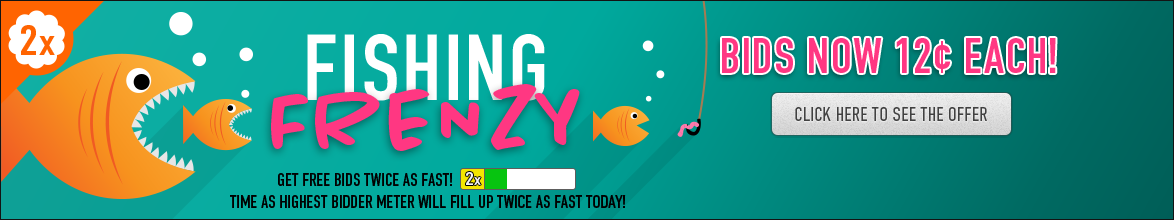 Fishing Frenzy: Buy bids for only 12 cents each!