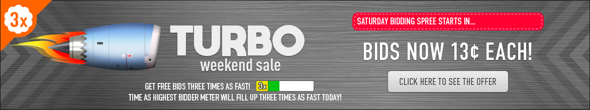 Turbo Weekend Sale: Buy bids for only 13 cents each!