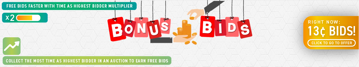 Bonus Bids: Buy bids for only 13 cents each!