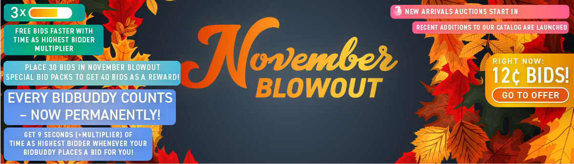 November Blowout: Buy bids for only 12 cents each!