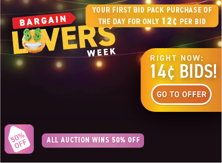 Bargain lovers' week: Buy bids for only 14 cents each!