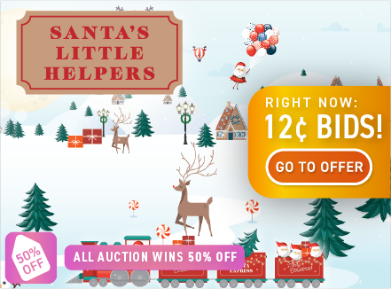 Santa's Little Helpers: Buy bids for only 12 cents each!