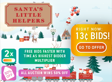 Santa's Little Helpers: Buy bids for only 13 cents each!