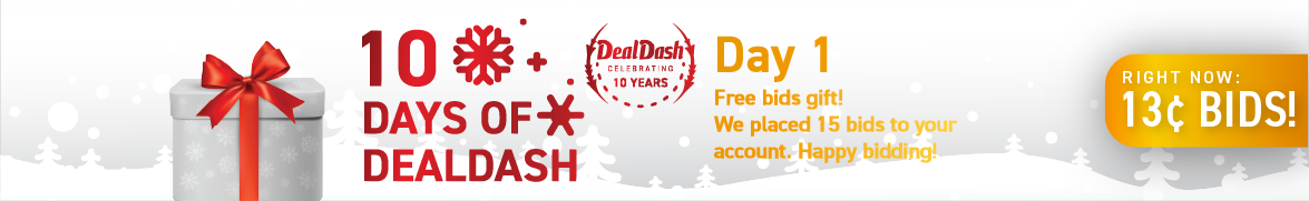 10 Days of DealDash - Day 1: Bids now only 13 cents each!