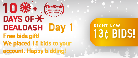 10 Days of DealDash - Day 1: Buy bids for only 13 cents each!