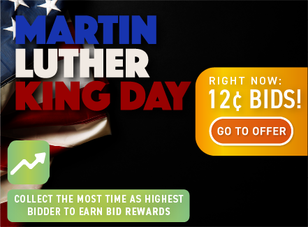 Martin Luther King Jr. Day : Buy bids for only 12 cents each!