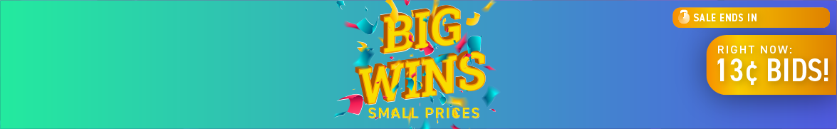 Big Wins, Small Prices: Bids now only 13 cents each!