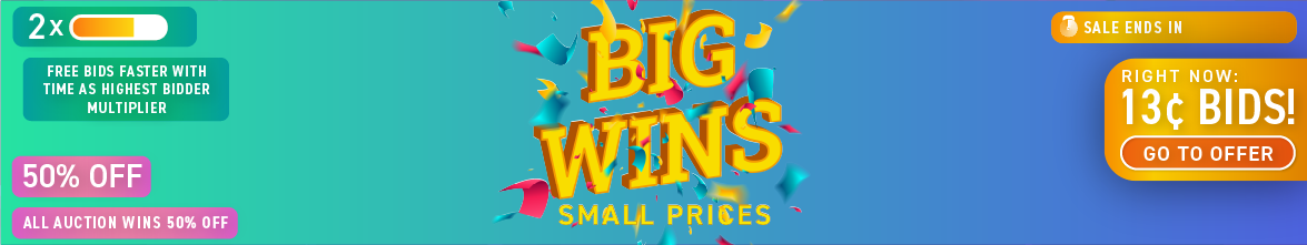 Big Wins, Small Prices: Buy bids for only 13 cents each!