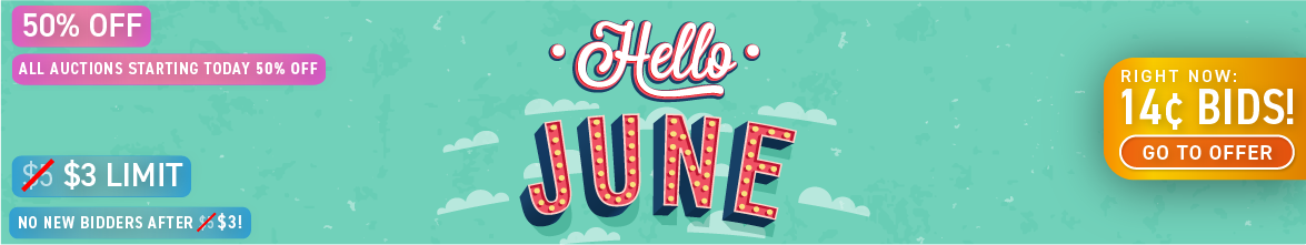Hello June: Buy bids for only 14 cents each!