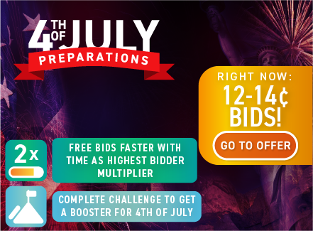 4th of July preparations: Buy bids for only 14 cents each!
