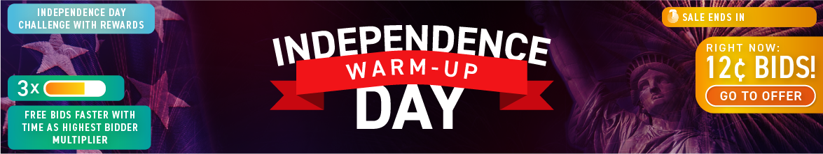 Independence Day warm-up: Buy bids for only 12 cents each!