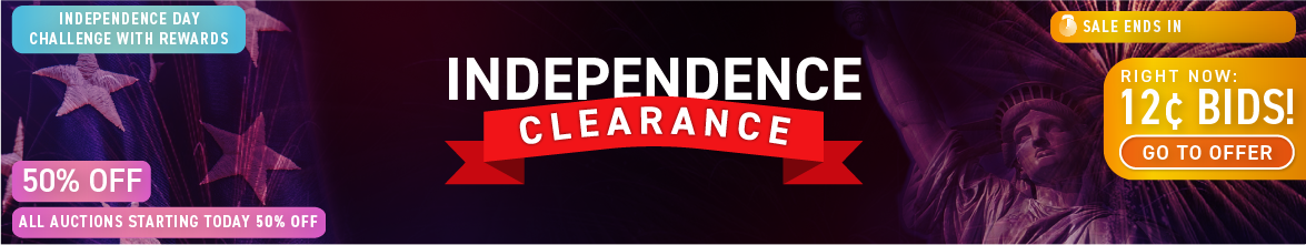 Independence Day Clearance: Buy bids for only 12 cents each!