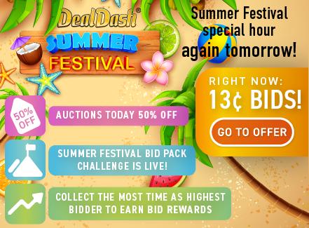 DealDash Summer festival: Buy bids for only 13 cents each!