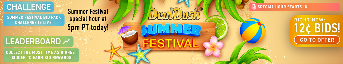 DealDash Summer festival: Buy bids for only 12 cents each!