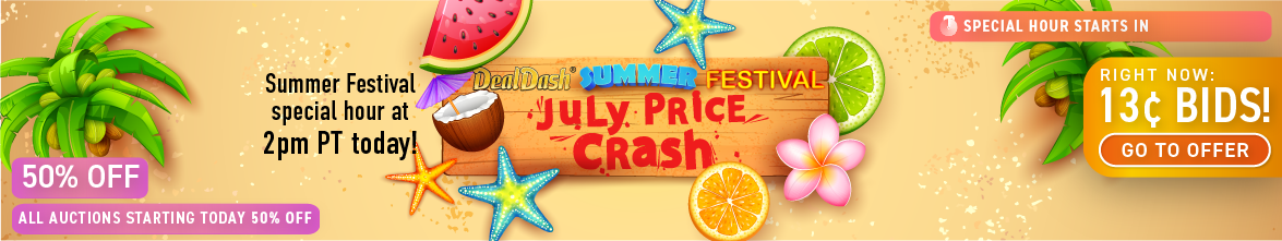 July Price Crash: Buy bids for only 13 cents each!