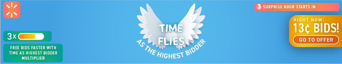 Time Flies as the Highest Bidder: Buy bids for only 13 cents each!