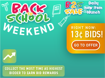 Back to school weekend: Buy bids for only 13 cents each!
