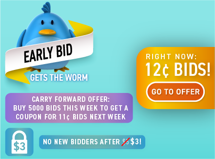 Early Bid Gets the Worm!: Buy bids for only 12 cents each!
