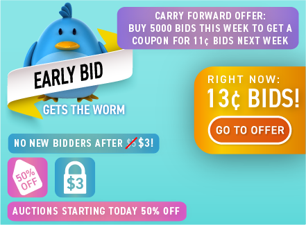Early Bid Gets the Worm!: Buy bids for only 13 cents each!