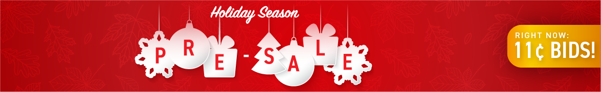 Holiday season pre-sale: Bids now only 11 cents each!
