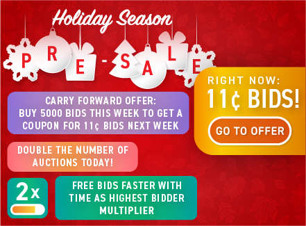 Holiday season pre-sale: Buy bids for only 11 cents each!