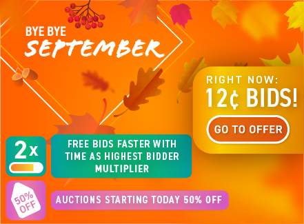Bye Bye September: Buy bids for only 12 cents each!