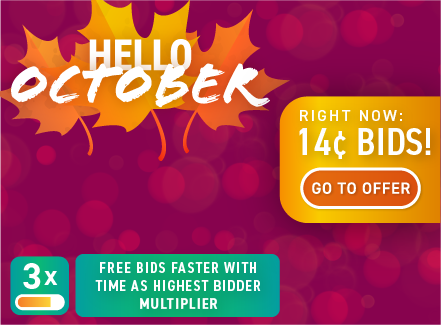 Hello October: Buy bids for only 14 cents each!
