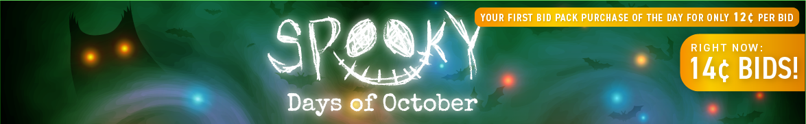 Spooky Days of October: Bids now only 14 cents each!