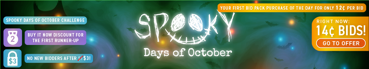 Spooky Days of October: Buy bids for only 14 cents each!