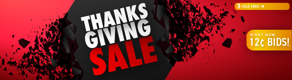 Thanksgiving Day: Bids now only 12 cents each!