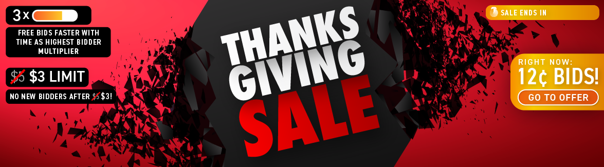 Thanksgiving Day: Buy bids for only 12 cents each!