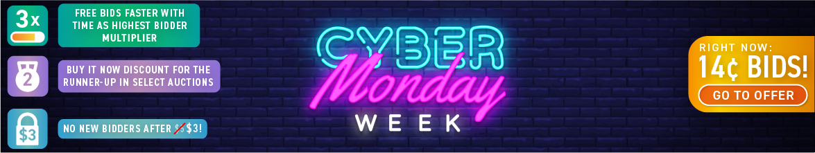 Cyber Monday Week: Buy bids for only 14 cents each!