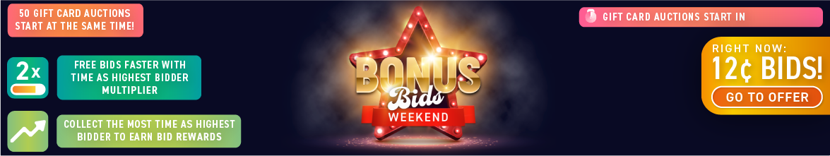 Bonus Bids Weekend: Buy bids for only 12 cents each!