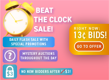 Beat the Clock Sale: Buy bids for only 13 cents each!