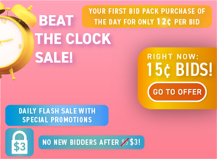 Beat the Clock Sale: Buy bids for only 15 cents each!