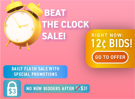 Beat the Clock Sale: Buy bids for only 12 cents each!