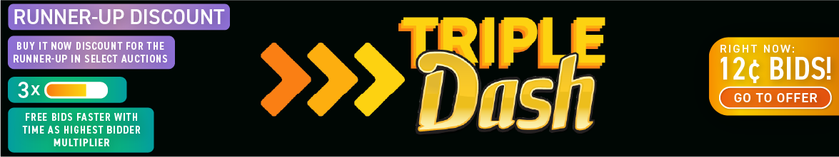 Triple Dash!: Buy bids for only 12 cents each!