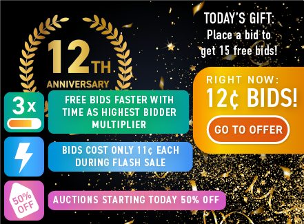 DealDash 12th birthday: Buy bids for only 12 cents each!