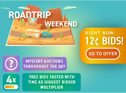 Road trip promo: Buy bids for only 12 cents each!