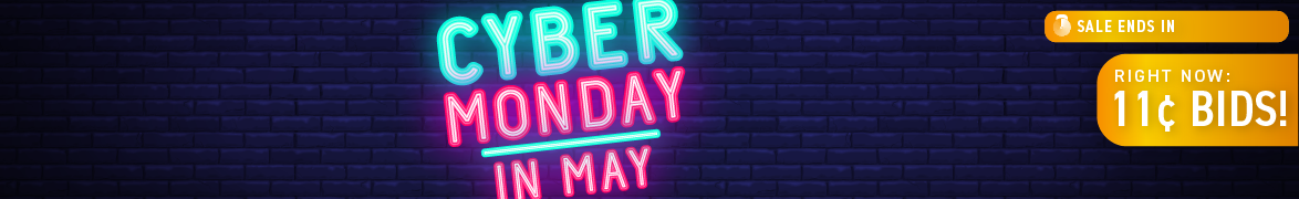 Cyber Monday in May: Bids now only 11 cents each!