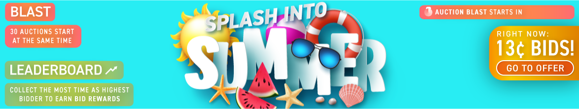Splash Into Summer: Buy bids for only 13 cents each!