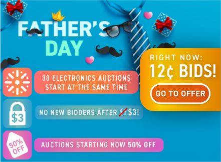 Father's Day: Buy bids for only 12 cents each!