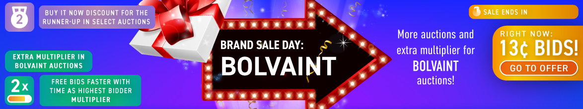 Brand specific day: Bolvaint: Buy bids for only 13 cents each!