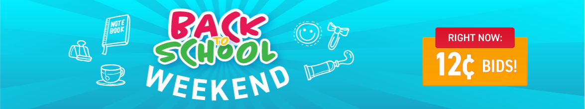 Back to school weekend: Bids now only 12 cents each!
