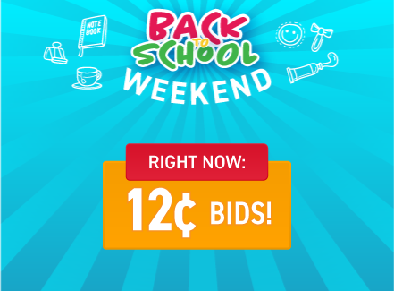 Back to school weekend: Buy bids for only 12 cents each!