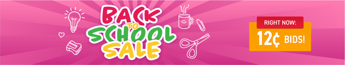 Back to school sale: Bids now only 12 cents each!