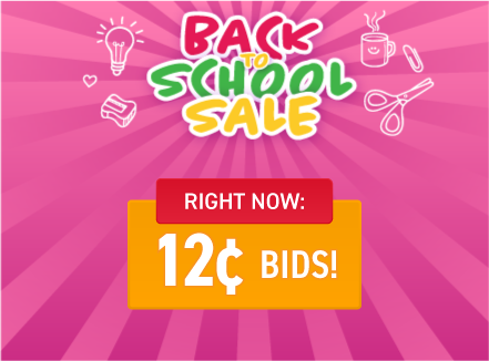 Back to school sale: Buy bids for only 12 cents each!