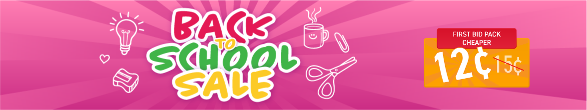 Back to school sale: Bids now only 15 cents each!