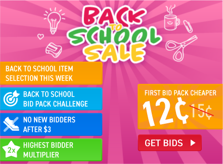 Back to school sale: Buy bids for only 15 cents each!